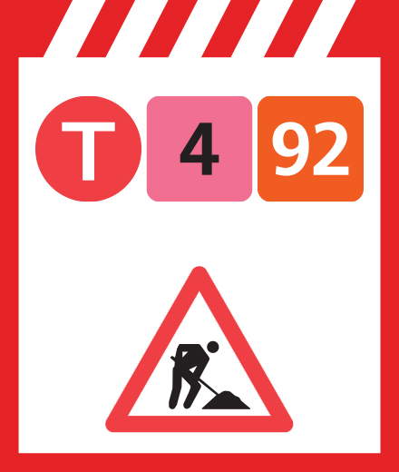 Tram 4, 92 - interruption Marlow ↔ Vanderkindere