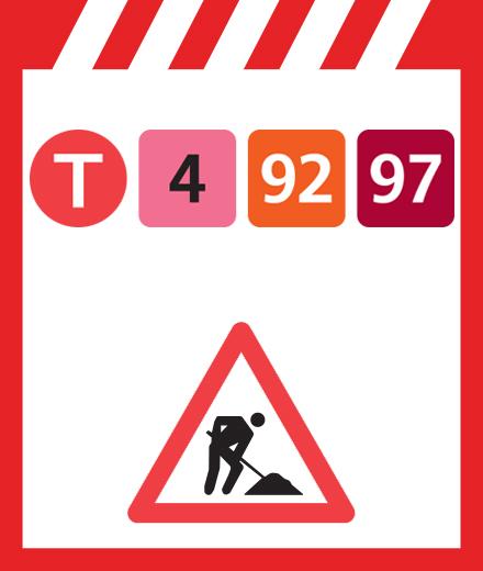 Tram 4, 92, 97 - interruption