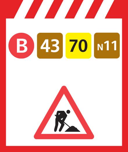 Bus 43, 70, N11 - déviation Griottes ↔ Homborch
