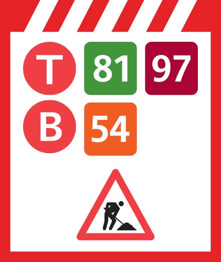 Tram 81, 97, Bus 54 - interruption