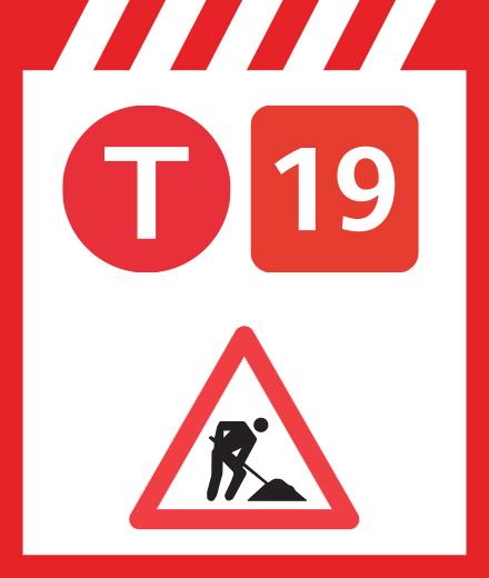 Tram 19 - interruption Coll. Sacré-Coeur - Groot-Bijgaarden