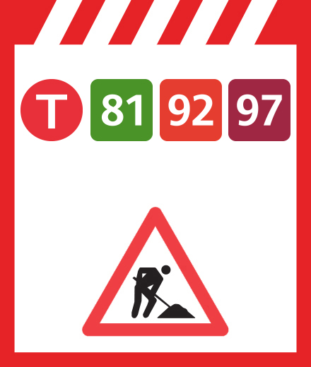 Tram 81, 92, 97 - onderbreking
