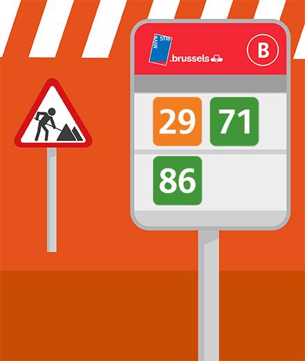 Bus 29, 71, 86 – interruption entre De Brouckère et Gare Centrale