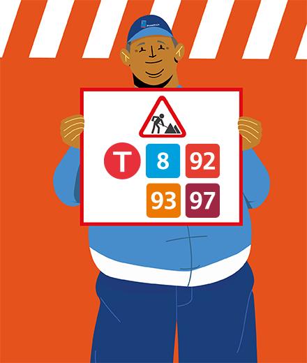Tram 8, 92, 93, 97 - interruption