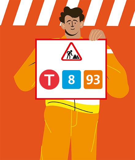 Tram 8, 93 - interruption Legrand - Stéphanie