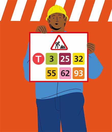Tram 3, 25, 32, 55, 62, 93 – interruption
