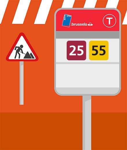 Tram 25, 55  - interruption