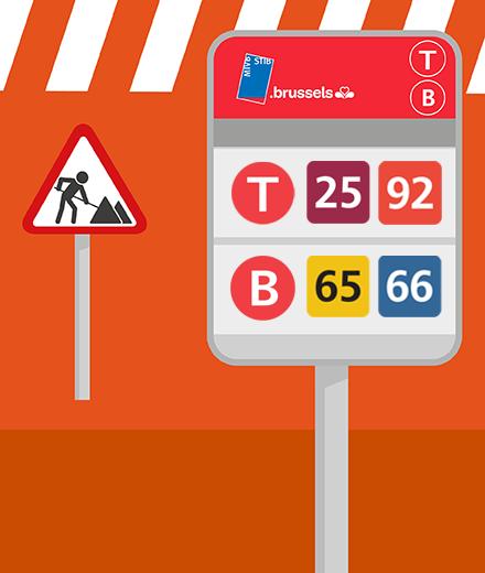 Tram 25, 62, 92, Bus 65, 66, N04 - interruption