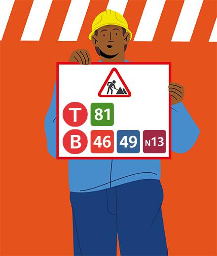 Tram 81, bus 46, 49, N13 - interruption